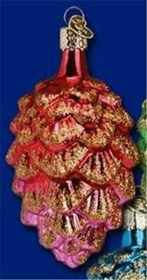 Red Ponderosa Pine Cone Old World Christmas Glass Forest Ornament Nwt 48012