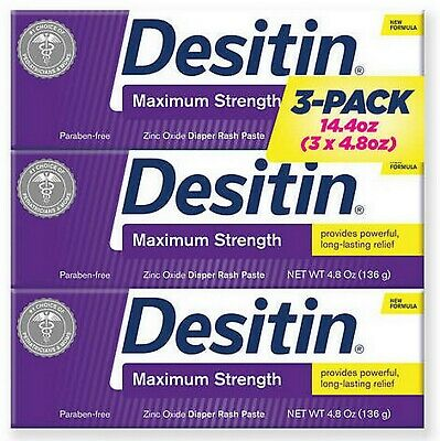 Desitin Diaper Rash Paste Maximum Strength 4.8 oz 3 Tubes 14.4 oz Zinc Oxide