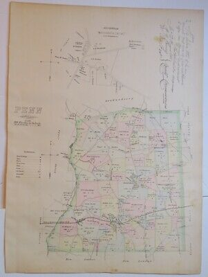 1883 Breou's Penn Township,Jennerville Chester County Colored Map,Railroad,Ownrs