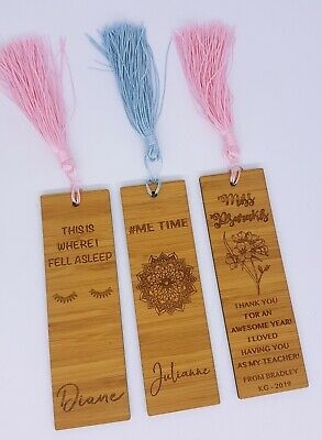 Personalised Engraved Wooden Bookmark End of Year Teacher Gift Christmas Name