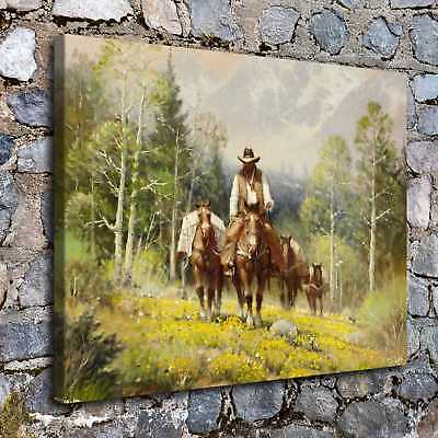 """12""""x16"""" Western Cowboy Paintings HD Canvas prints Home decor Wall art Pictures"""