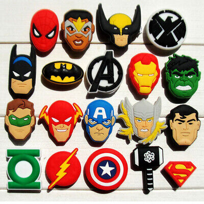 50pcs Avengers Superhero Shoe Charms Buckles Fit for Shoes Bracelets Bands Gifts