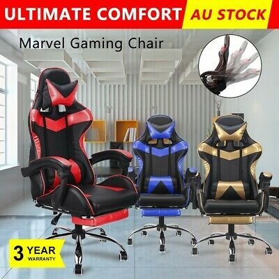 Office Chair Computer Desk Gaming Chairs PU Leather Cushion Executive Seat Black