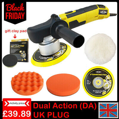 "6"" Dual Action DA Car Polisher Buffer Sander Polishing Machine Clay Pad Wax Kit"