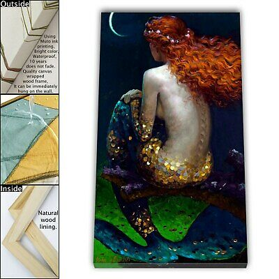 "16""x26""Mermaid HD Canvas print Framed Painting Home decor Picture Wall art"