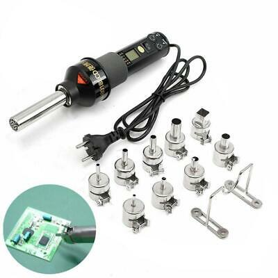 Durable 450W 220V LCD Display Hot Air Heat Gun Soldering Station with 9 Nozzles
