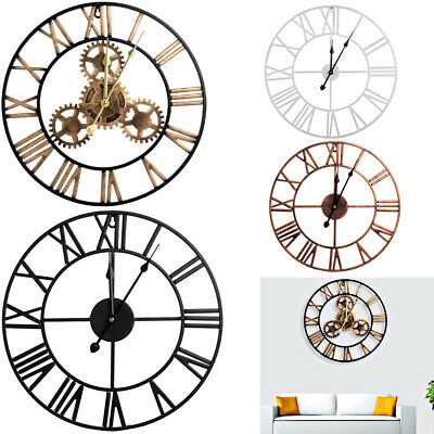 40cm/60cm Skeleton Wall Clock Big Roman Numerals Large Open Face Metal Round UK