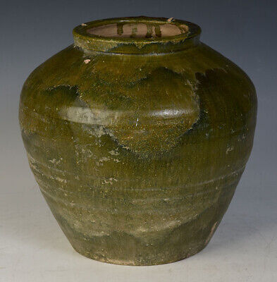 Han Dynasty, Antique Chinese Green Glazed Pottery Jar