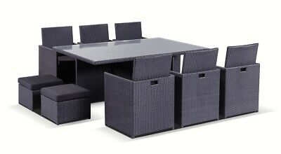 NEW Mirage 6 Seater Outdoor Wicker Dining Table And Chairs Setting With Ottomans