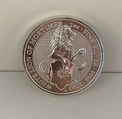 2020 Queen's Beast 2oz Silver coin White Lion Of Mortimer