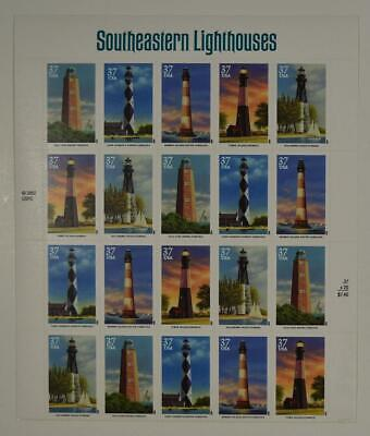 Us Scott 3787-91 Pane Of 20 South Eastern Lighthouses Stamps 37 Cent Mnh