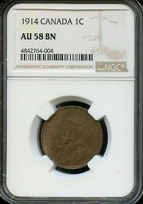 1914 Canada 1C Ngc Au 58 Bn (About Unc 58 Brown) Canadian 1C Coin Fd14