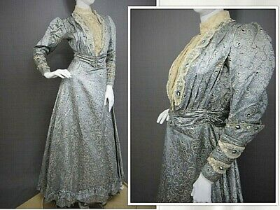 Antique Victorian Printed Silk Reception Gown 2-Piece Dress Ball Gown c. 1890s
