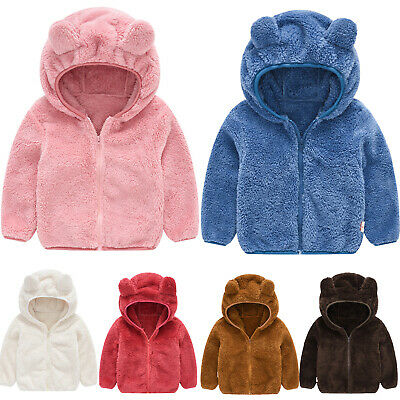 Girls Boys Fleece Winter Hooded Coat Jacket Teddy Bear Ears Zip Outwear Clothes