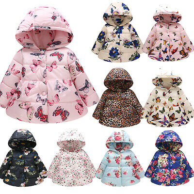 Baby Kid Girls Floral Print Hooded Coat Padded Jacket Winter Warm School Outwear