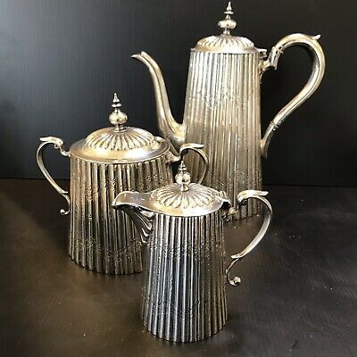 Antique Reed & Barton Deco Nouveau Tea Coffee Pot Creamer And Sugar Silver Plate