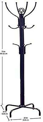 Coat Rack Stand Tree Clothes Hanger Entryway Home Furniture Metal Black 12 Hooks