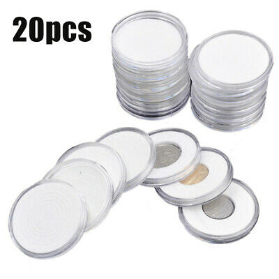 Coin Storage Capsules Clear Plastic Round Case Collection Display Holder Box
