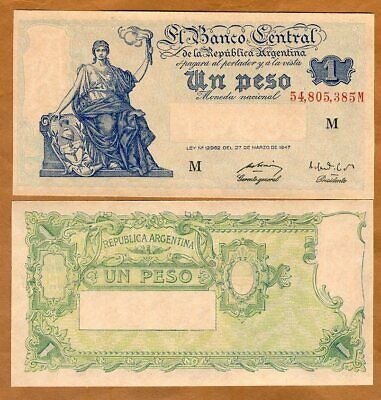 ND 1 Pesos Lady Liberty Argentina 1951 UNC /> Nearly 70 years old P-257