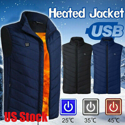 Electric USB Winter Heated Warm Vest Men Women Heating Coat Jacket Clothing HOT
