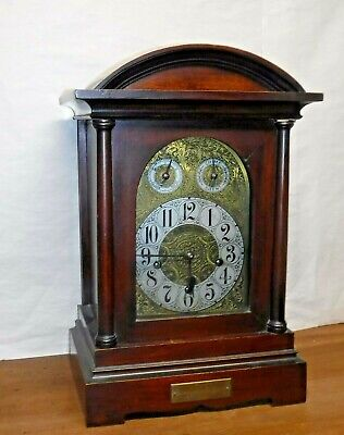 Antique German H.h. Peerless Westminster Chime Mahogany Bracket Clock Working