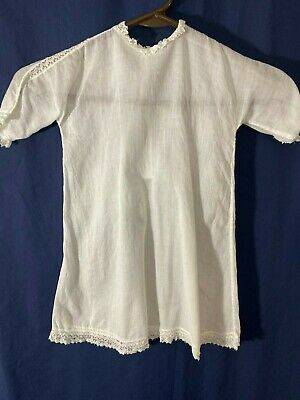 """Victorian Baby Dress -Small- White Dimity w/Lace Trim- 20"""" Long - ADORABLE"""