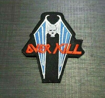 OVER KILL ROCK MUSIC SKULL HEAVY THRASH METAL Embroidered Patch Iron On Sew Logo