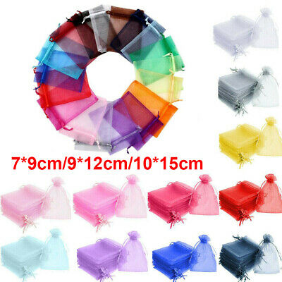 1-100PCS Organza Bags Wedding Favour Gift Jewellery Pouches Voile Net Candy Sack