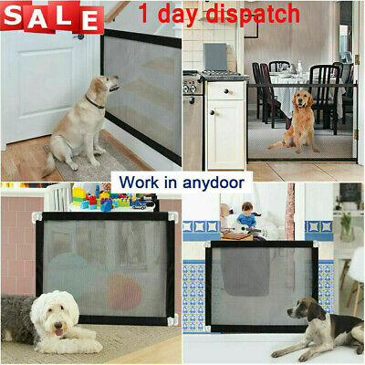 UK✔✔ Retractable Pet Dog Gate Safety Guard Folding Baby Toddler Stair Isolation