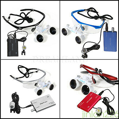 Dental Surgical 3.5X 420mm Binocular Loupe Optical Glass + LED Head Light Lamp K