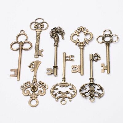 8X Large Vintage Antique Royal Skeleton Key Pendant Old Look Jewelry Craft Decor