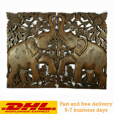 "Teak Wood Elephant Wall Hand Carved Pair Mirror Thai Hanging Home Decor 24""x18"""