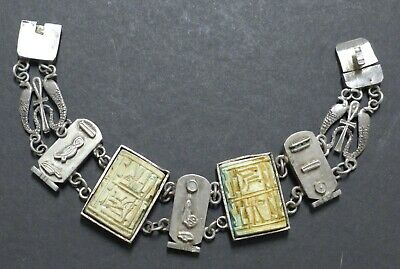 Antique Art Deco Egyptian Revival Sterling Silver Link Bracelet