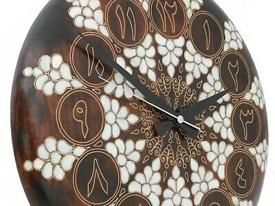 Deluxe Wooden Wall Clock with Beautiful Motifs - Mother of Pearl and Brass Wire