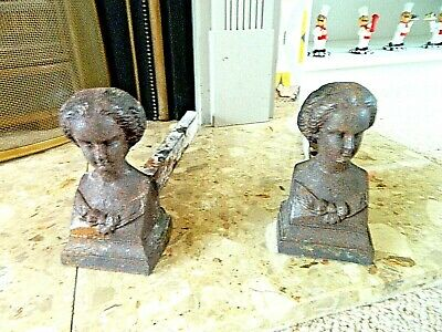 Vintage French Pair Of Cast Iron Fire Dogs Andirons Female Bust