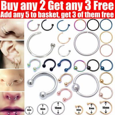 Nose Ring Lip Nose Rings Helix Tragus Lobe Ear Piercing Ring Surgical Steel Hoop