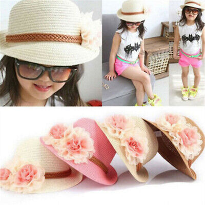 Toddlers Infants Baby Girls Kids Summer hats Straw Sun Beach Hat for Cap 2-7Year