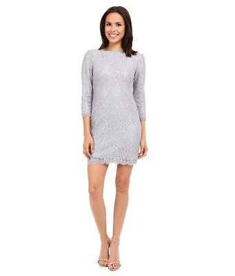 ADRIANNA PAPELL $209-NEW-Womens Gray Long Sleeve Lace Sequin Shift Dress Size:6p