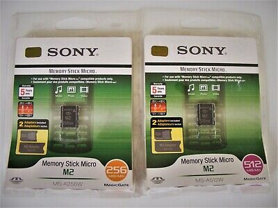 256MB / 512MB Memory Stick ( MS ) Micro M2 Card mit  zwei Adapter SONY Neu