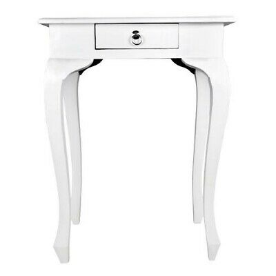 "Side Table "" Preston "" White Mahogany Night Table Living Room Table Wooden Table"