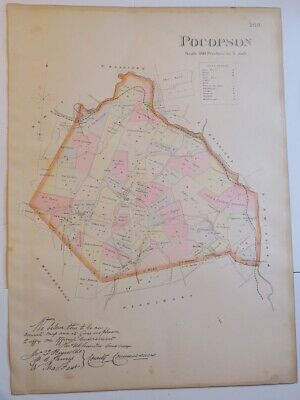 1883 Breou's Hand-Colored Map Pocopson Twp Chester County Pa, Brandywine Creek