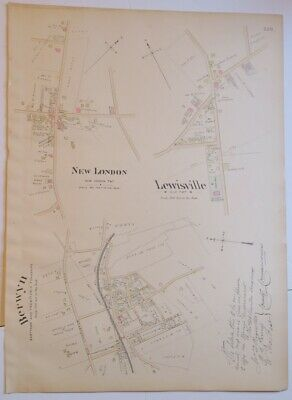 1883 BREOU'S HAND-COLORED MAP New London,Berwyn,Lewisville CHESTER COUNTY PA,