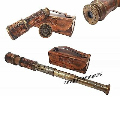 Brass Telescope 15 Inch DOLLOND LONDON Marine Antique Vintage With Leather Box