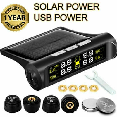4 Sensor Solar Wireless TPMS Car Tire Tyre Pressure Monitoring System External