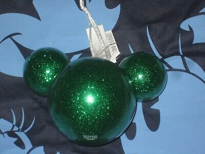 Disney Parks Mickey Mouse Christmas Ornament Blown Glass Glitter Ears Brand New