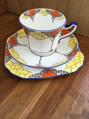 Wetley China (9857) Trio. Cup, Saucer, Plate. Art Deco, Vintage. Lovely Cond.