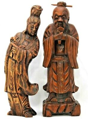 "Vintage Antique 12"" Hand Carved Wood Figures Statues Old Wise Man & Lady Asian"