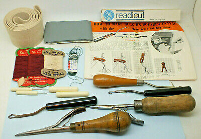Vintage Rug Making Tools and materials Readicut Latchet hooks latch & more
