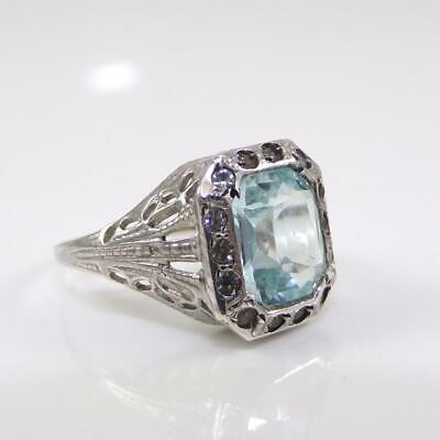 Vintage Filigreed Larger 925 Sterling Emerald Cut Stone with Pave Stones Size 7ish