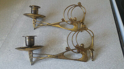 Lovely Pair Antique Arts Crafts Piano Sconce Candelabras-  8 X 4 1/2  Inches